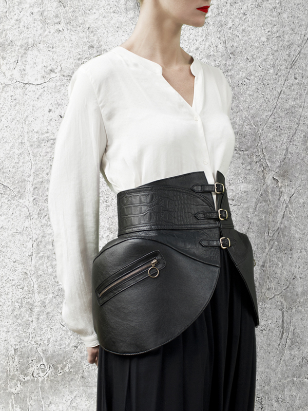 Black Leather PANNIERS Waist Belt by HANDS OF OIZO - Designer Accessories