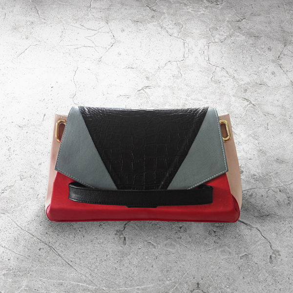 CARAPACE Graphic Leather Handbag by HANDS OF OIZO - Designer Accessories