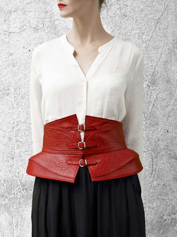 SOBEK Red Leather Waist belt by HANDS OF OIZO - Designer Accessories