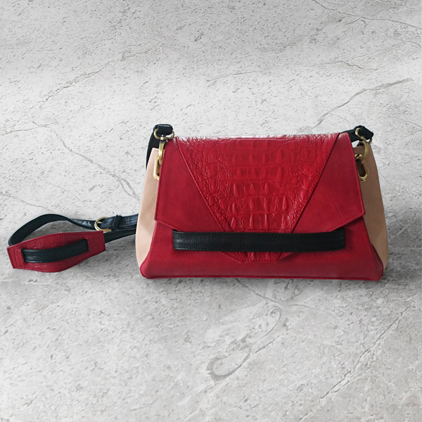 CARAPACE Red Leather Handbag by HANDS OF OIZO - Designer Accessories