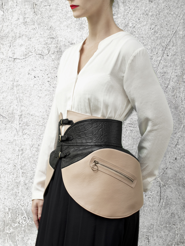 Nude Leather PANNIERS Waist Belt by HANDS OF OIZO - Designer Accessories