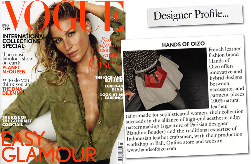 British VOGUE March 2015 presents HANDS OF OIZO in Designer Profile page