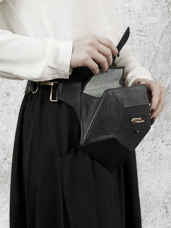 PENTAGON Black Leather Belt bag by HANDS OF OIZO - Designer Accessories