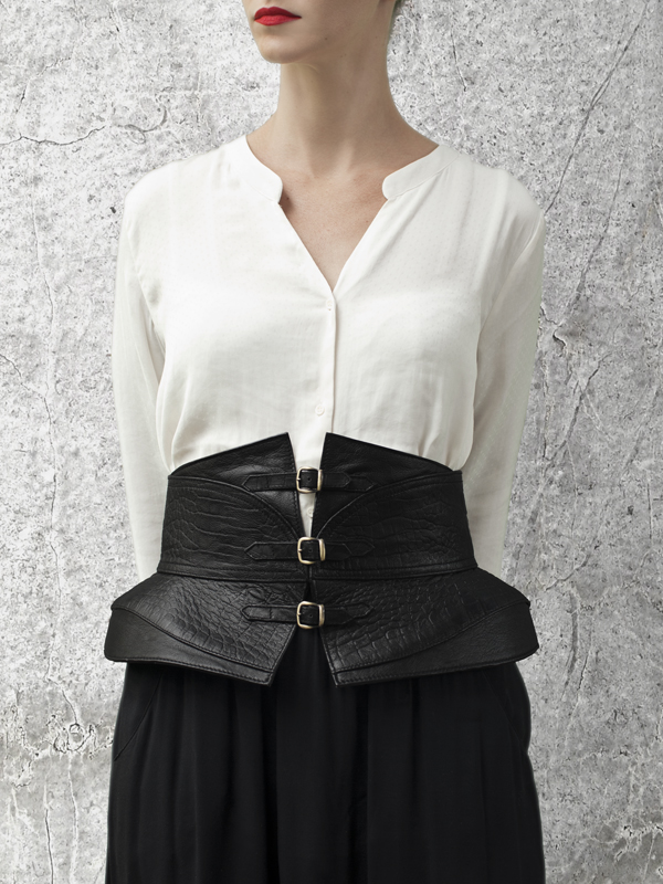 SOBEK Black Leather Waist belt by HANDS OF OIZO - Designer Accessories