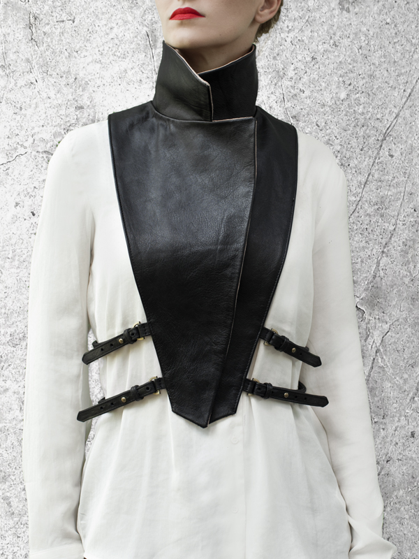 WRAP UP Removable Black Leather Collar by HANDS OF OIZO - Designer Accessories