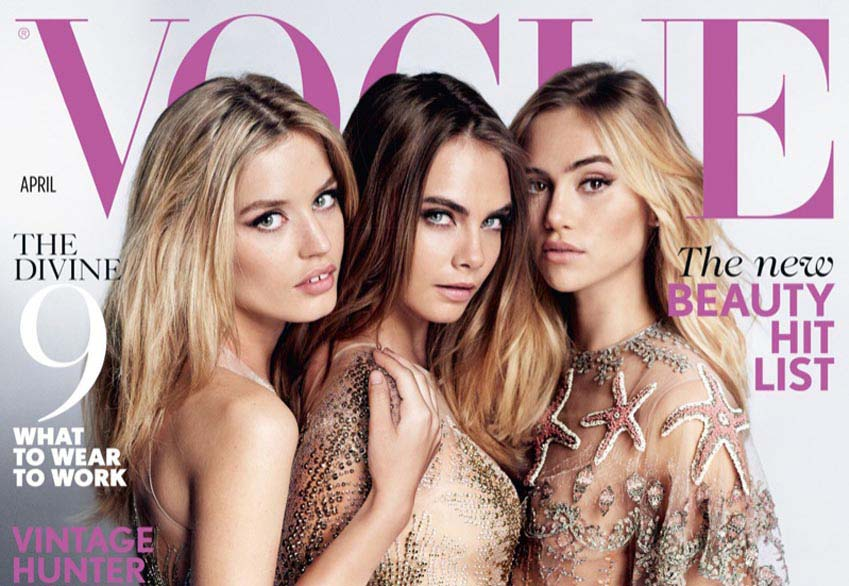 Georgia-May Jagger, Cara Delevingne, Suki Waterhouse by Mario Testino on British VOGUE April 2015 cover - Hands Of Oizo BLOG