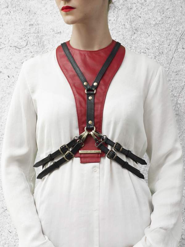 CAVALCADE Red Leather Harness Dickey by HANDS OF OIZO - Designer Accessories