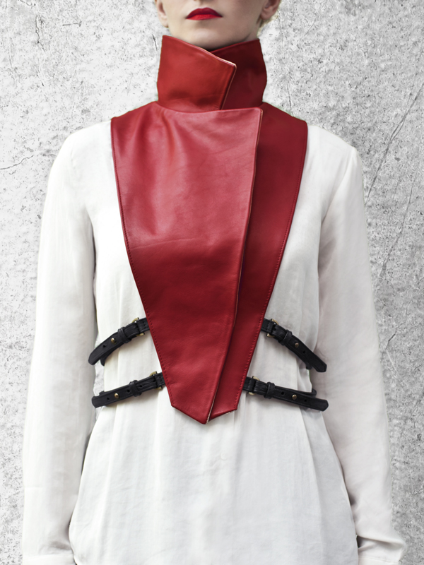 WRAP UP Removable Red Leather Collar by HANDS OF OIZO - Designer Accessories