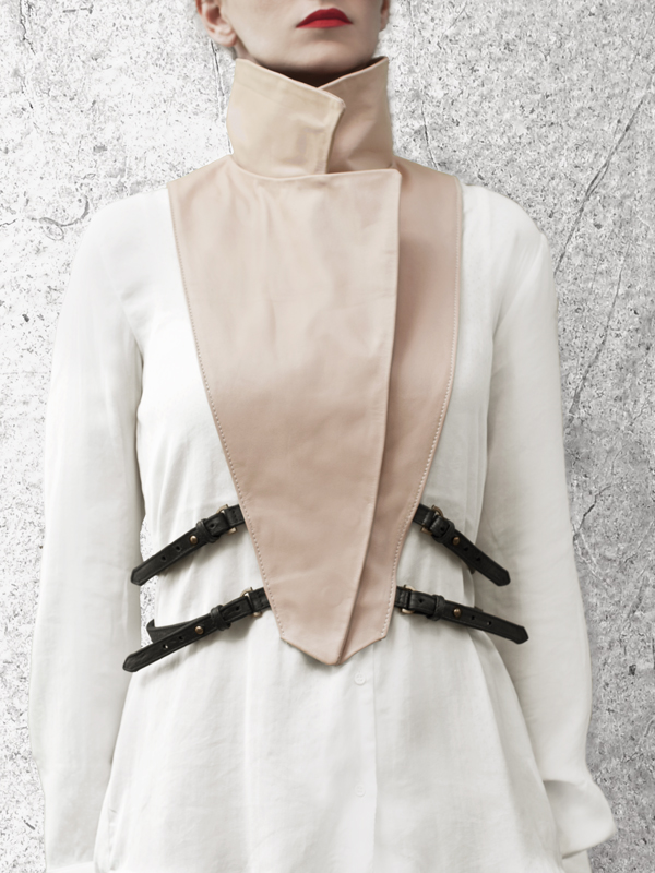 WRAP UP Removable Nude Leather Collar by HANDS OF OIZO - Designer Accessories