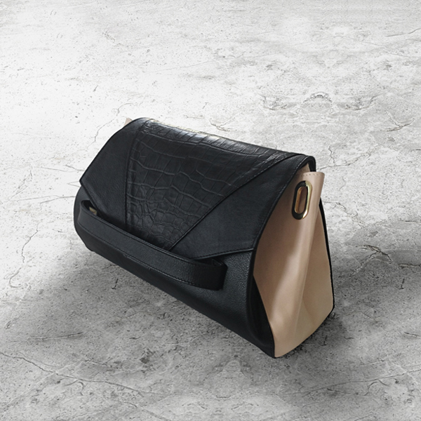CARAPACE Black Leather Handbag by HANDS OF OIZO - Designer Accessories