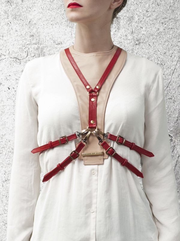 CAVALCADE Nude Leather Harness Dickey by HANDS OF OIZO - Designer Accessories