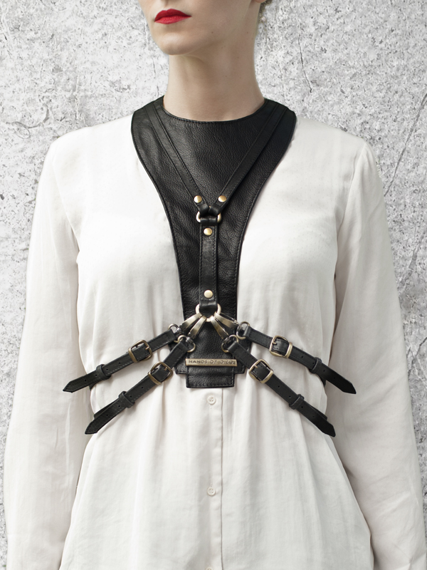 CAVALCADE Black Leather Harness Dickey by HANDS OF OIZO - Designer Accessories