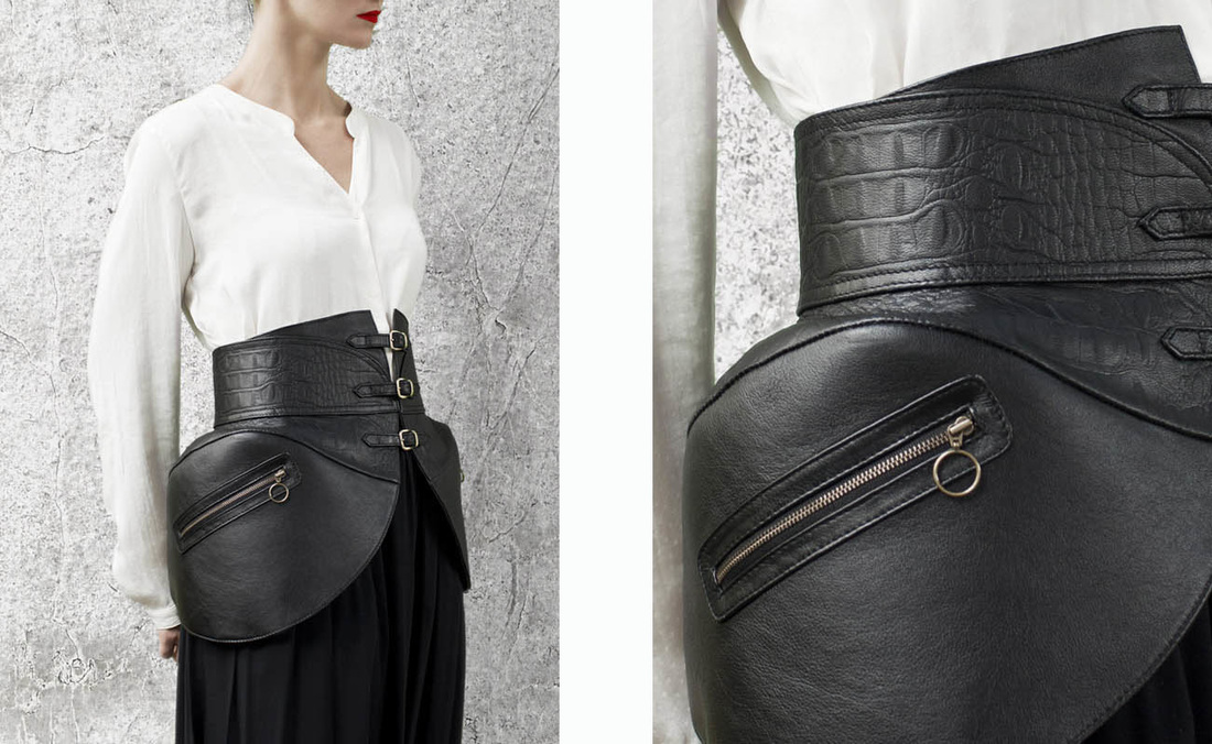 HANDS OF OIZO Leather Panniers Waist Belt featured in KINGDOM OF STYLE