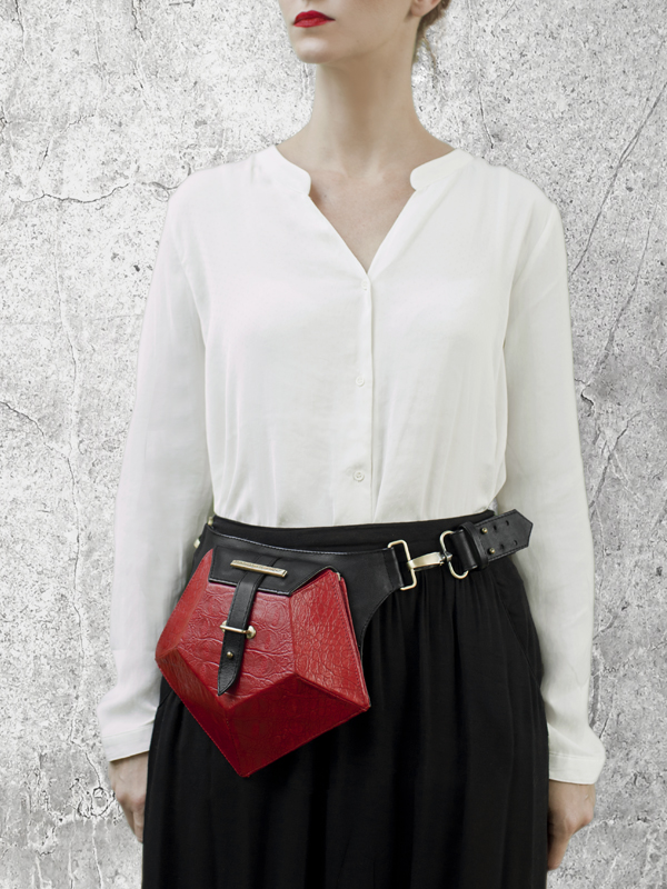 PENTAGON Red Leather Belt bag by HANDS OF OIZO - Designer Accessories